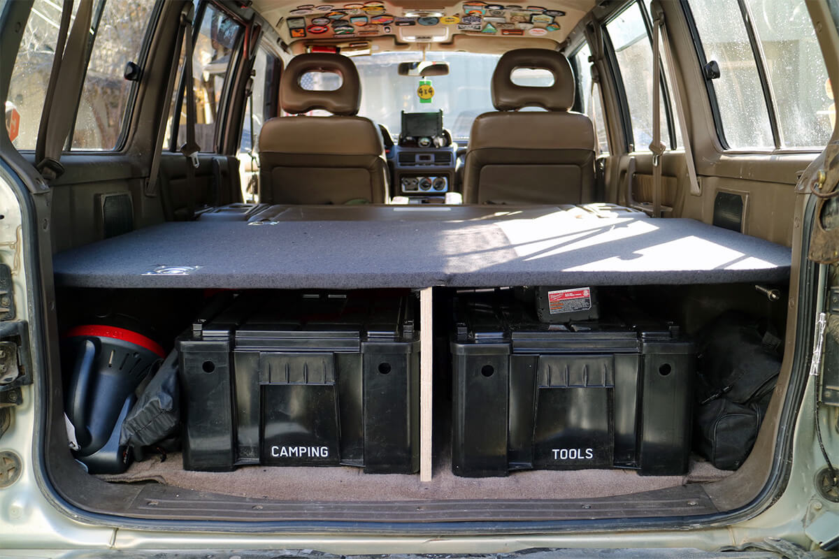 Mitsubishi Montero / Pajero 2 sleeping platform and drawers storage system
