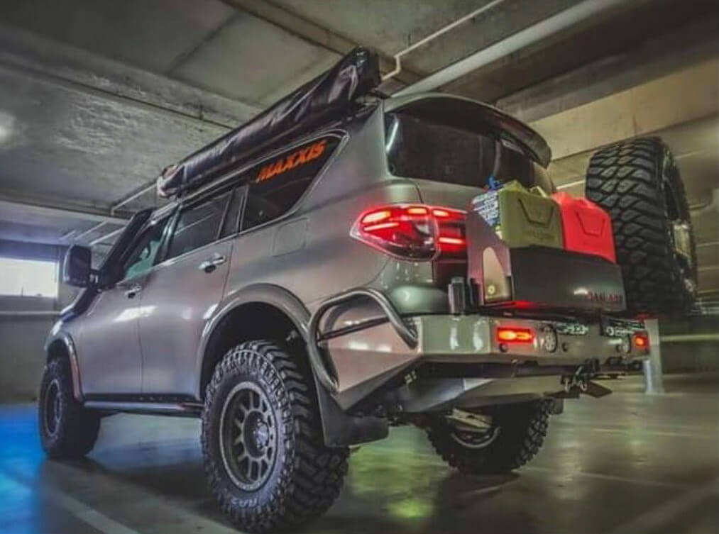 Nissan Armada Custom off-road bumoer with a tire carrier