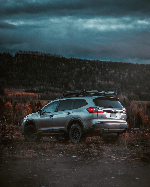 Silver grey Subaru Ascent off-roading