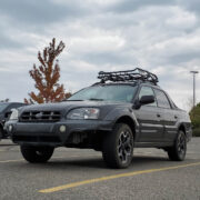 Subaru Baja roof rack and a cargo basket