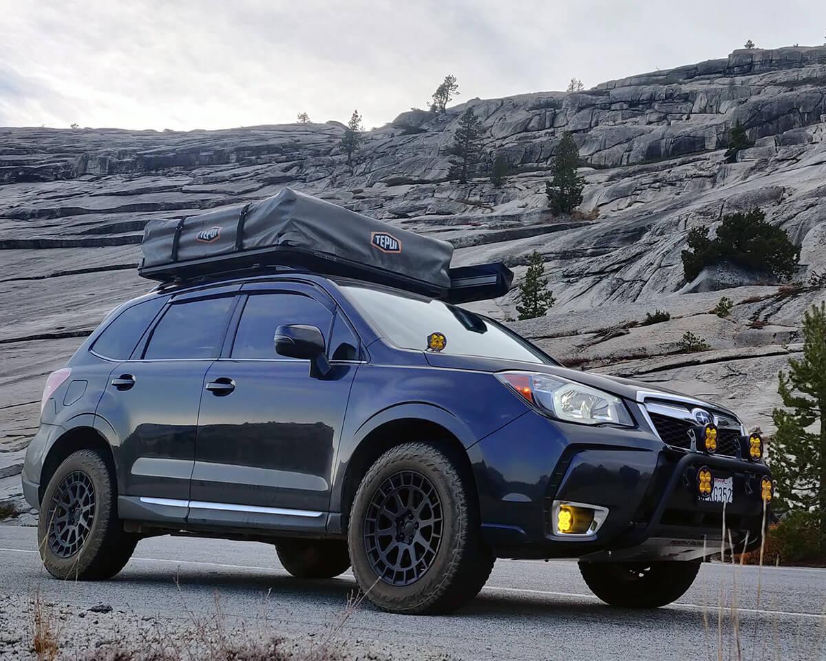 "Subaru Forester SJ with LP aventure 2"" lift, Black Rhino Boxer Wheels A/T Trires – 235/65/R17"