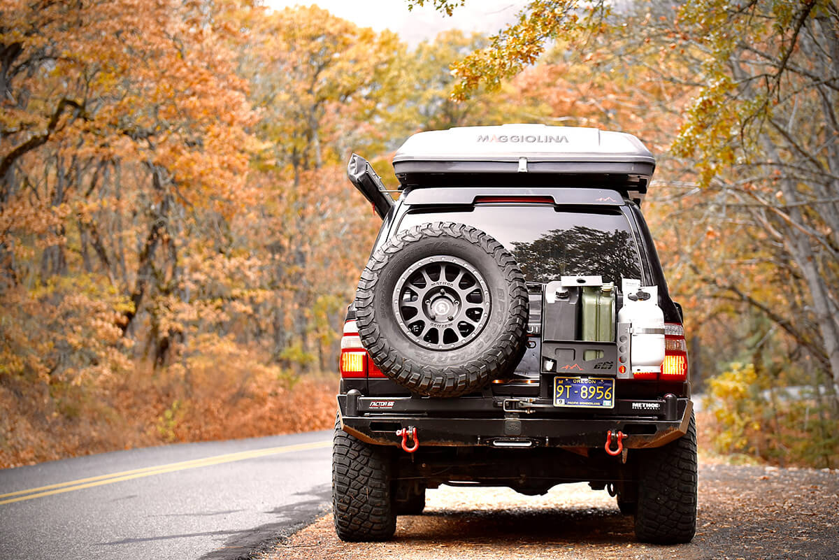 Custom fab rear bumper with a spare tire carrier