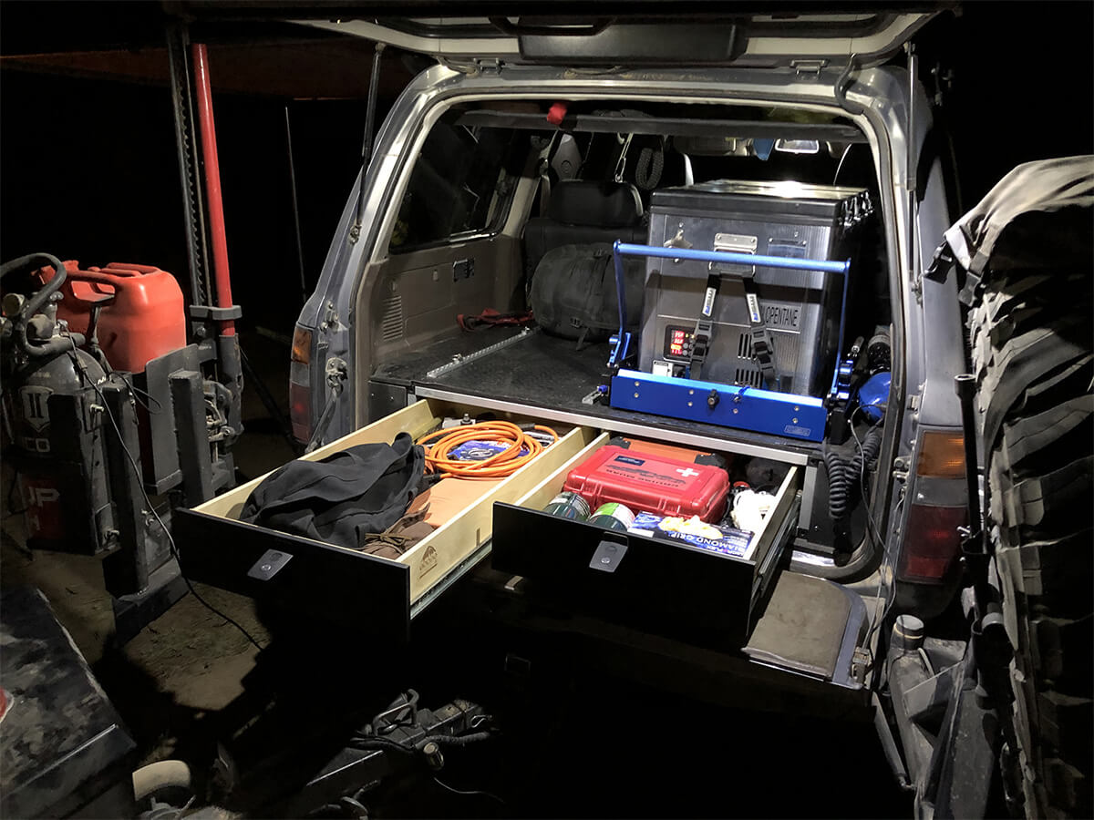 Land Cruiser 80 overland drawers and fridge