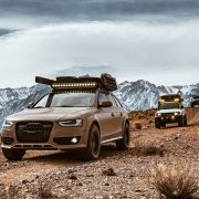 Lifted Audi Allroad overlanding gear and LED light bar