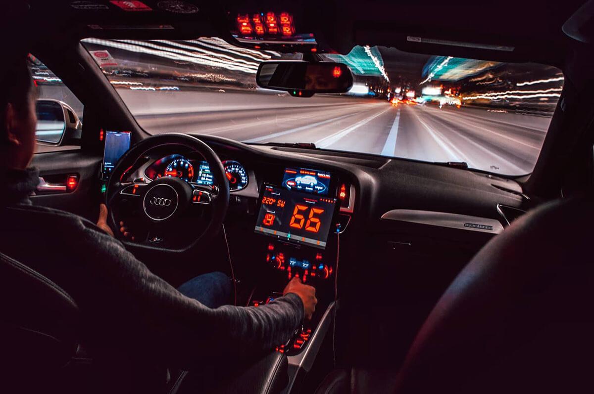 Audi A4 B8 interior at night