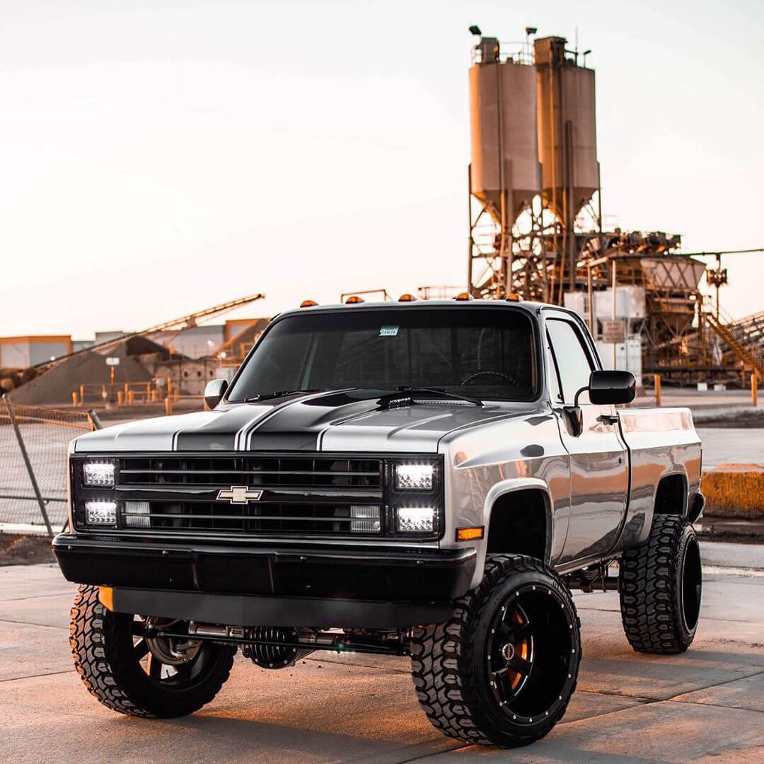 """Squarebody chevy truck with a 6"""" rough country lift kit"""
