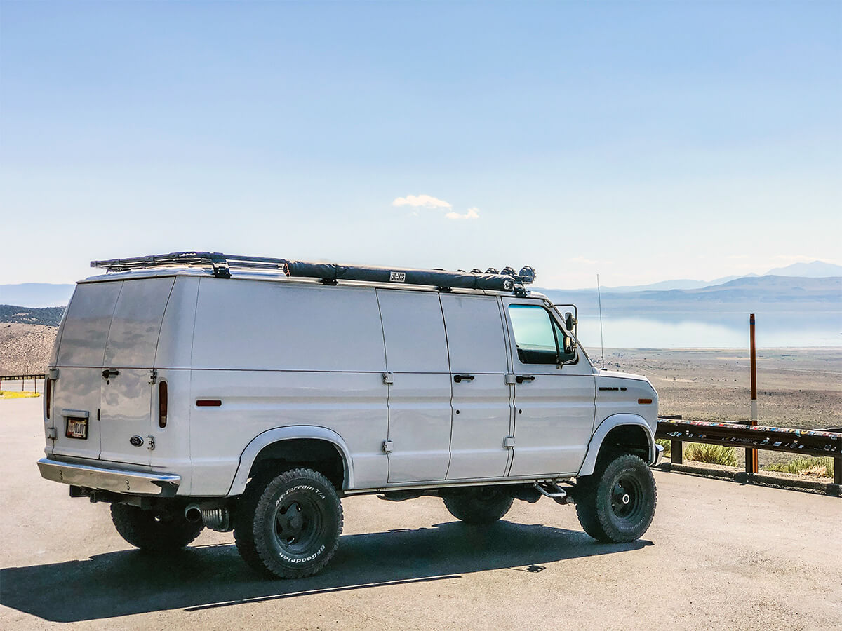 Ford E150 Rancho 3 inch lift, 33 Inch tires and Overland roof rack with Awning