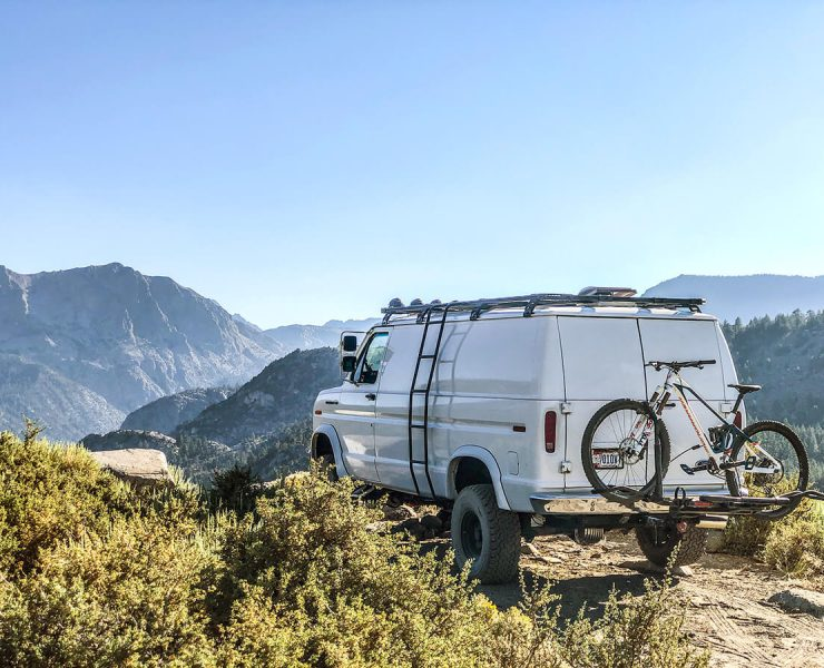 Lifted 1990 Ford E150 Overland Van project - Hitch mount bike rack