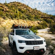 White 2019 Jeep grand Cherokee Trailhawk off-road adventures