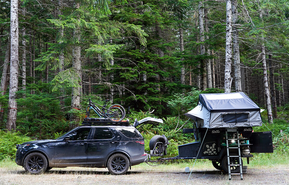 Turtleback Overland Trailer with a roof top tent