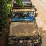 Old Mitsubishi Montero off-roading