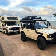 SUV roof rack and and awning for camping