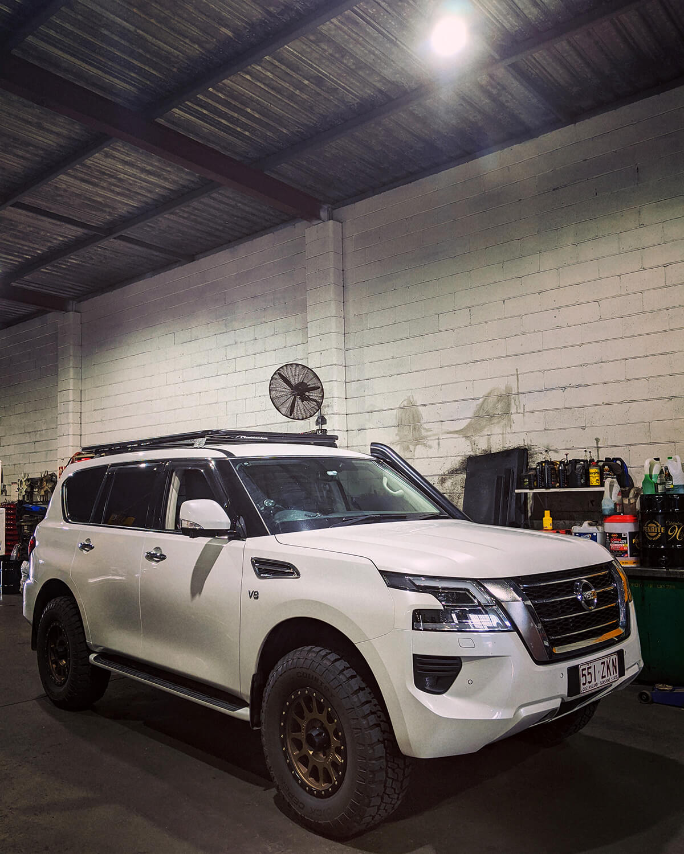 Nissan Patrol Y62 Tracklander roof rack – 1250x2200mm flat platform rack