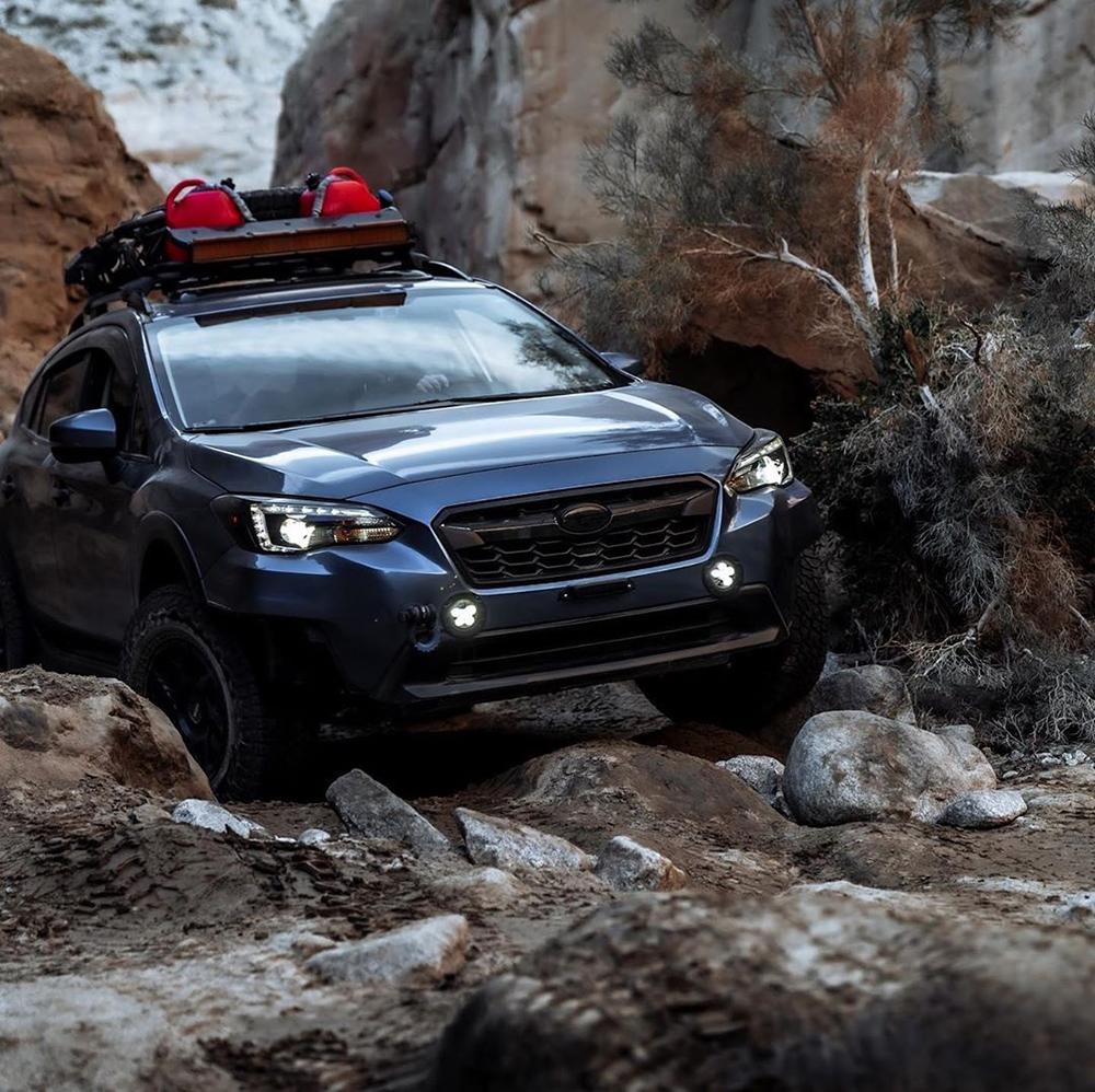 Modified Subaru Crosstrek in the mountains