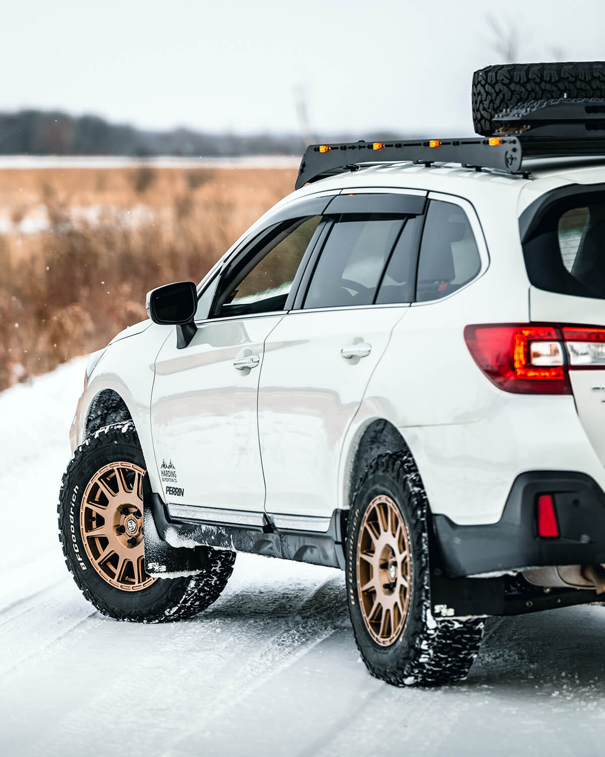 White Lifted Subaru Outback Overland Offroad project