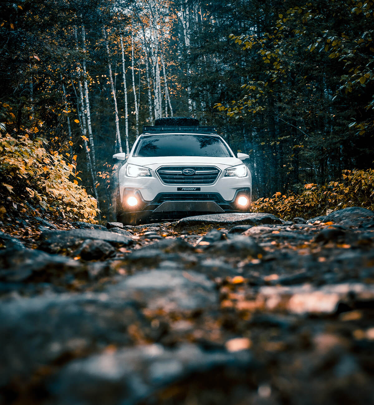 Wite Subaru Outback Offroad Photography
