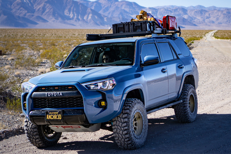 Lifted Toyota 4Runner overland build - off-road wheels and roof rack