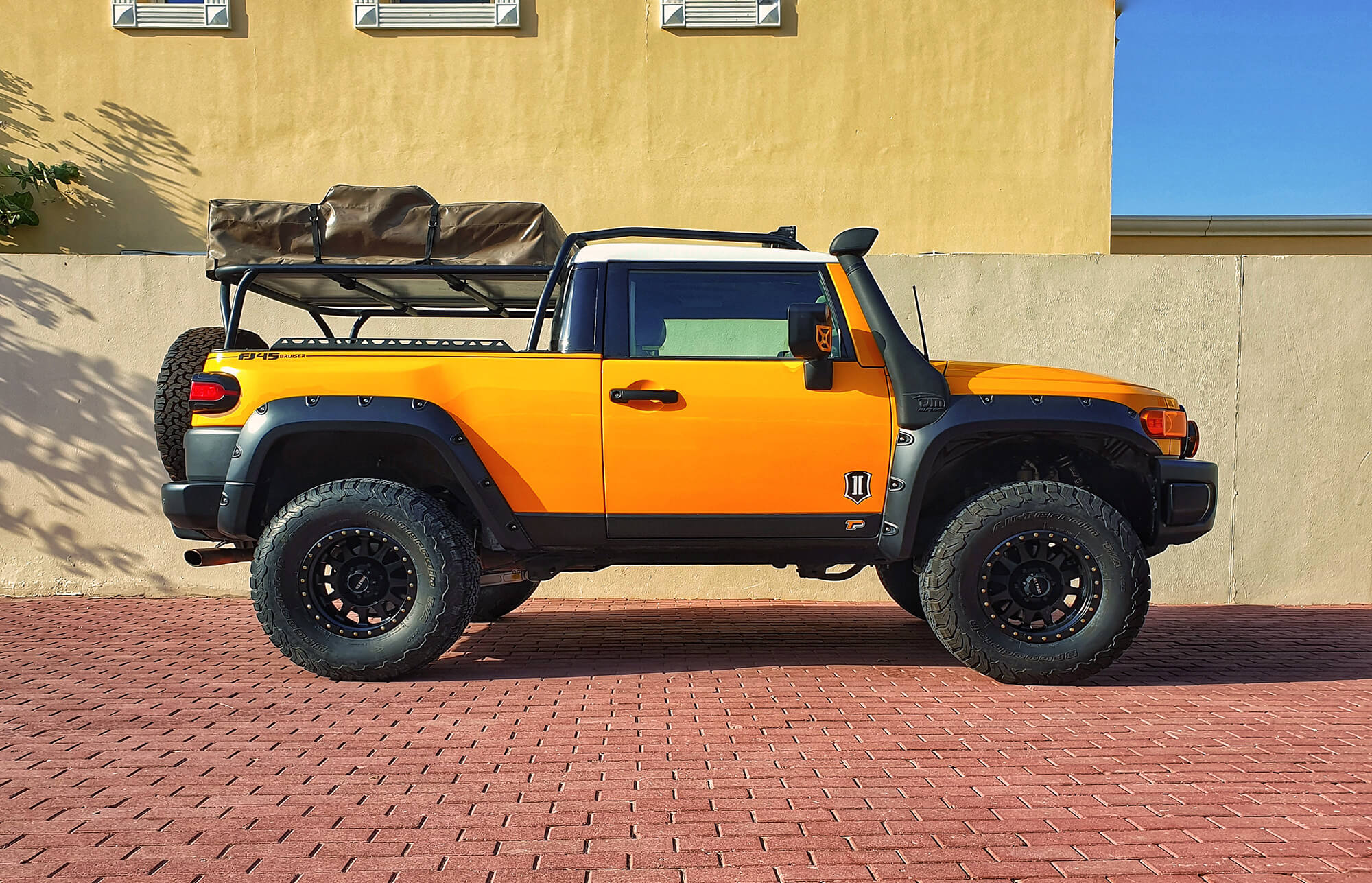 Lifted Toyota FJ Cruiser pickup truck conversion