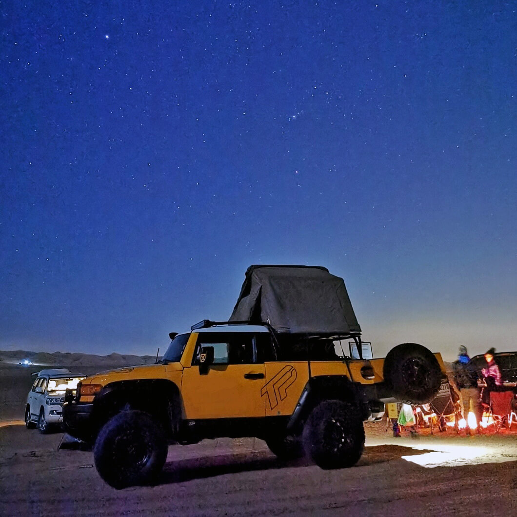 Toyota FJ Cruiser roof top tent and swing out tailgate