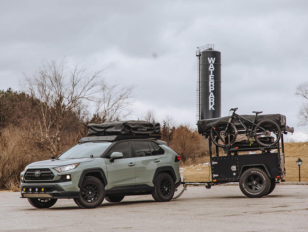 Toyota Rav4 towing overland camping trailer