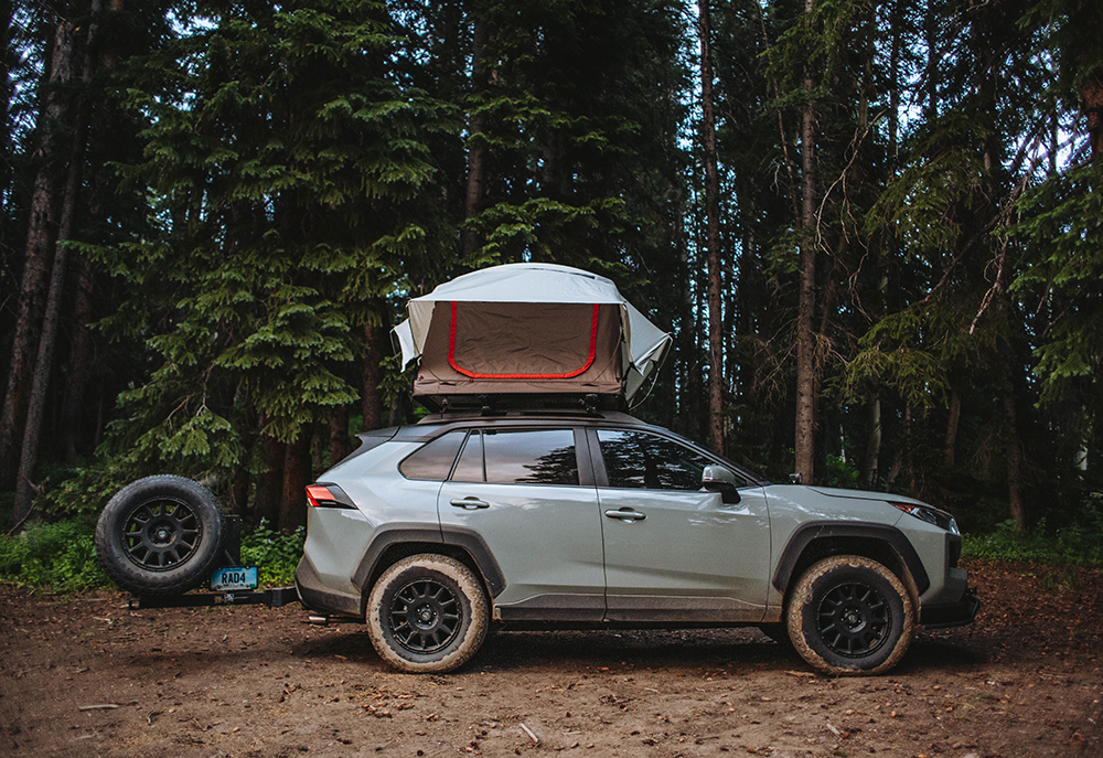 Lifted Toyota Rav4 with a roof top tent